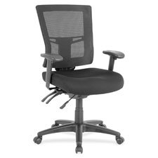 Lorell Swivel Mid-Back Mesh Chair, Black