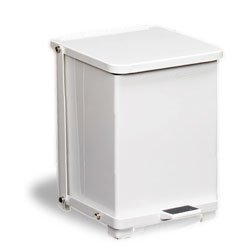 continental white metal stepon trash can 12 gallon with plastic liner