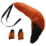 Fox Plush Tails and Clip Ears Anime Spice and Wolf Halloween Cosplay Props Children Toys (Brown Black) ()