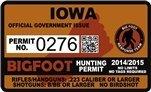 """Iowa Bigfoot Hunting Permit 2.4"""" x 4"""" Decal Sticker"""