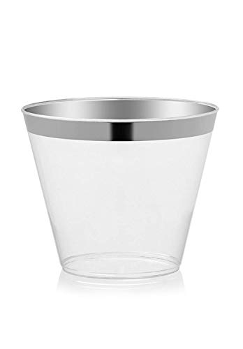 - 100 Silver Rimmed Clear Hard Plastic Cups | 9 oz. Fancy Disposable Old Fashioned Wedding Tumblers for Party & Wedding (100-Pack)
