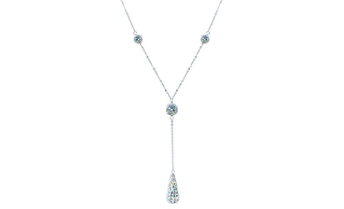 Women Sterling Silver Spectacular Crystal Tear Drop Y Necklace. 16''+2'' Diamond Cut Cable Chain, Colors Available (Rainbow) (Sterling Necklace Drop)