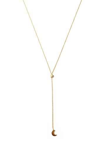 HONEYCAT Moon & Crystal Star Crystal Lariat Y Necklace in 24k Gold Plate | Delicate Jewelry - Necklace Lariat Star