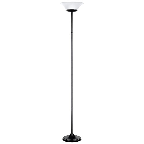 "Globe Electric 12791 Hale 72"" 15W LED Integrated Floor Lamp, Black, Matte Finish, White Frosted Shade"