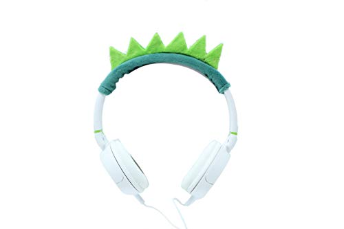 Gabba Goods Premium Plush Design Dinosaur Over The Ear Comfort Padded Stereo Headphones AUX Cable | Earphones