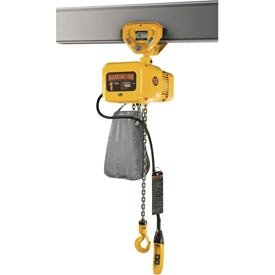 Harrington NERP010L-20 NER Electric Chain Hoist w/Push Trolley - 1 Ton, 20' Lift, 14 ft/min, 208V (Compact Electric Hoist)