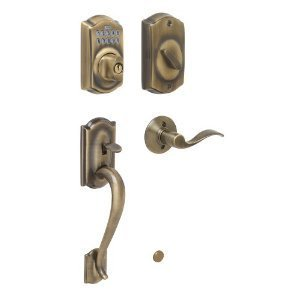 Schlage FE365-CAM-ACC-LH Left Handed Camelot Electronic Handleset with Accent Le, Antique (Antique Brass Accents Series)
