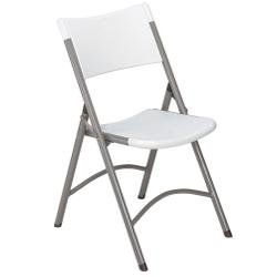National Public Seating 600 Series Steel Frame Blow Molded Resin Plastic Seat and Back Folding Chair with Double Brace, 300 lbs Capacity, Speckled Gray/Gray (Carton of 4) by NPS