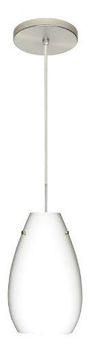 - Besa Lighting 1JT-412607-SN 1X100W A19 Pera 9 Pendant with Opal Matte Glass, Satin Nickel Finish