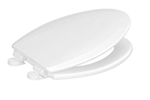Centoco 900SC-301 Elongated Wooden Toilet Seat Featuring Safety Close, Heavy Duty Molded Wood with Centocore Technology, Crane White (Cotton/Bright) ()
