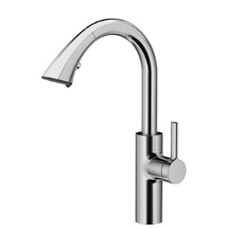 KWC Faucets 10.181.002.127 SAROS Pull Down Prep Kitchen Faucet, Splendure Stainless Steel (Kwc Faucet Cartridge)