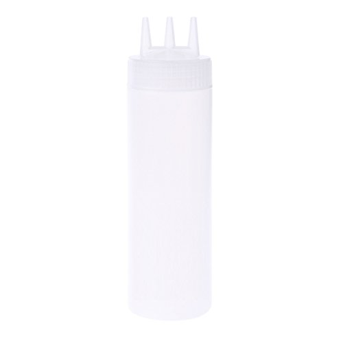 OTGO 3 Hole lid Plastic Squeeze Bottle Condiment Dispenser Sauce Vinegar Oil Ketchup,12 Oz,16 Oz, 24 Oz Optional (24oz, (Pe Squeeze Off Tool)