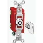 Hubbell HBL1221RKL Single Pole Toggle, Lock, Industrial Grade, 20 amp, 120/277V