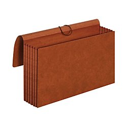 Globe Weis Pocket Folders - Globe-Weis/Pendaflex 100% Recycled File Wallets, 5.25-Inch Expansion, Elastic Cord Closure, Legal Size, Brown, 10-Count (73376R)