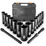 Drive Impact Socket Set, Tacklife 17pcs 1/2-inch Drive Deep Impact Socket Set, 6 Point, 3/8-1-1/4 inch, 14pcs Inch Sockets with 3pcs 1/2-Inch Drive Impact Extension Bar Set - HIS2A