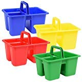 (Back to School Elementary Middle High Junior School Classroom Teacher Supplies Colorful Plastic with Handles Craft Caddies (Pack of 3) Assorted colors)