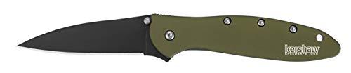 Kershaw Leek Plain Edge Folding Knife - Black/Olive