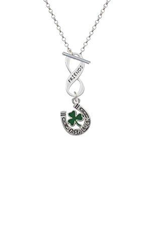 Silvertone Irish Luck Horseshoe with Shamrock Friends Infinity Toggle Chain Necklace