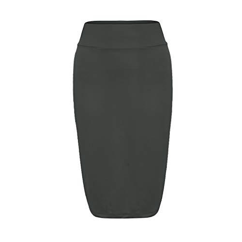 Creazrise Women's Below The Knee Pencil Skirt for Office Wear High Waist Stretch Bodycon Pencil Skirt (Blue,XL) -