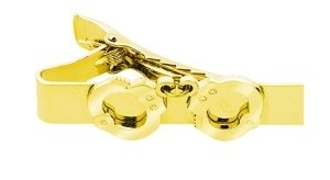HANDCUFFS TIE BAR MALE - ENAMELED & PLATED Gold Plating, Size 2x5/16