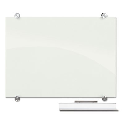 Visionary Magnetic Glass Board, Frameless, White Glossy, 96'' x 48'' x 1/8'', Sold as 1 Each