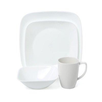 Corelle Square Pure White 16-Piece Dinnerware Set (Set Corelle Square Dinnerware)