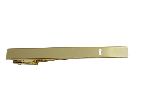 Kiola Designs Gold Toned Etched Religious Cross Square Tie Clip