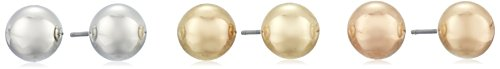Silver, Yellow, and Rose-Tone Ball Stud Earrings Three-Piece Set (8 mm)