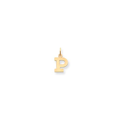 ICE CARATS 14kt Yellow Gold Small Block Initial Monogram Name Letter P Pendant Charm Necklace Fine Jewelry Ideal Gifts For Women Gift Set From Heart 14kt Gold Charm Block