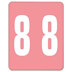 AM100RN Color-Coded Labels, Number 8, 1-1/2w x 1 -7/8h, Pink,