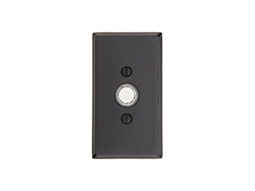 Emtek Sandcast Bronze Doorbell with plate and button 5 rosette options and 3 finish options (#3 rosette, Flat Black Bronze Patina (FB))