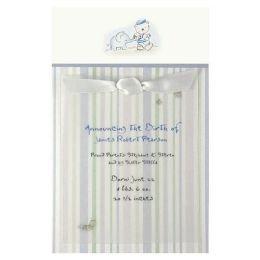 BLUE ELEPEHANT & TEDDY BEAR Baby Boy Birth Announcement Card Kit (50 Count)