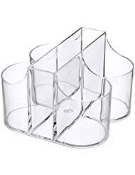 (Lillian Tablesettings|Cutlery Caddy Organizer 5 Compartment - Silverware Organizer & Napkin Holder - Clear)