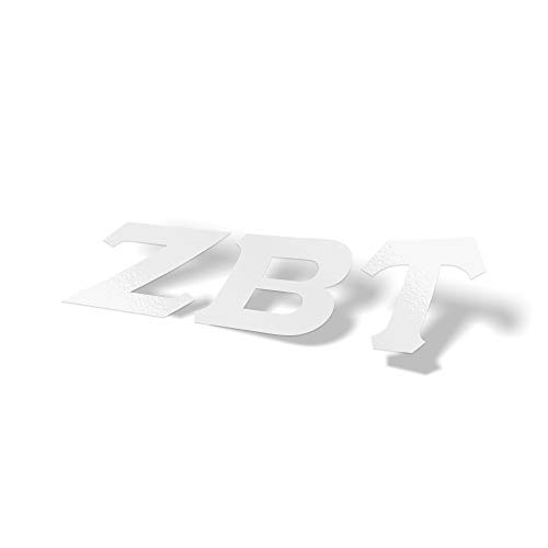 Zeta Beta Tau Fraternity White Letter Sticker Decal Greek 2 Inches Tall for Window Laptop Computer Car ZBT