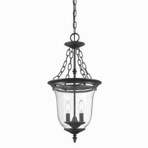 Acclaim 9316BK Belle Collection 3-Light Outdoor Light Fixture Hanging Lantern, Matte Black