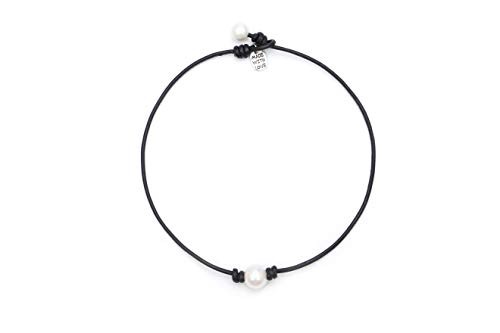 Single Cultured Freshwater Pearl Chokers for Girls Handmade Black Leather One Bead Pendant Jewelry for Women Fashion Boho Necklace Choker with Pearl for Valentine's Day Gift 14