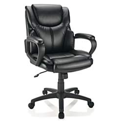 rt Vinyl Mid-Back Chair, Black ()