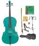 GRACE 1/16 Size Green Cello with Bag and Bow+Rosin+Extra Set of Strings+Tuner+Cello Stand+Music Stand