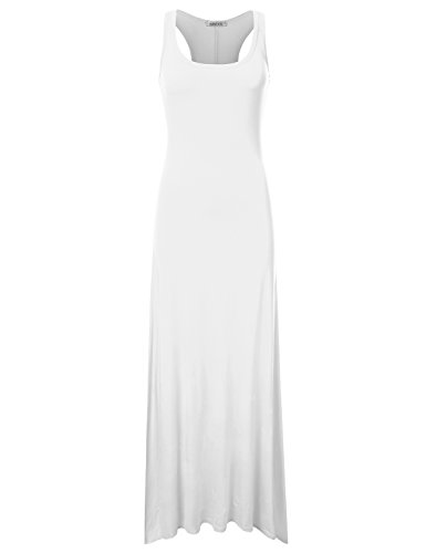 NINEXIS Women's Sleeveless Scoop Neck Racerback Tank Maxi Dress Ivory S