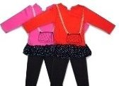 Pink Knit Top with Black Lycra Leggings 18-24 Months