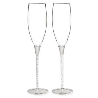 Glittering Beads Flutes (HBH™ Glittering Beads Flute Glasses; Clear/Silver)