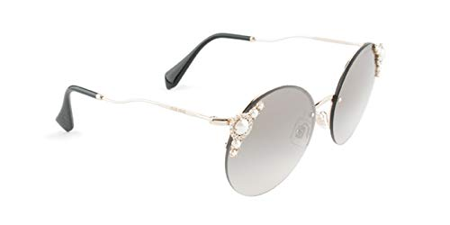 - Miu Miu Women's Round Imitation Pearl Sunglasses, Pale Gold/Grey Silver, One Size