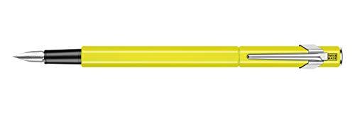 Caran d'Ache 849 Fountain Pen, Fluorescent Yellow with Aluminum Body, Nib M - Yellow Fluorescent Body