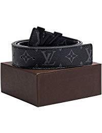 (Gold/Silver/Black Buckle Black Leather Unisex Fashion Belt for Men or Women Pants Jeans Shorts ~ 3.8cm Belt)