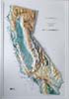 CALIFORNIA Raised Relief Map Raven Style with OAK WOOD Frame