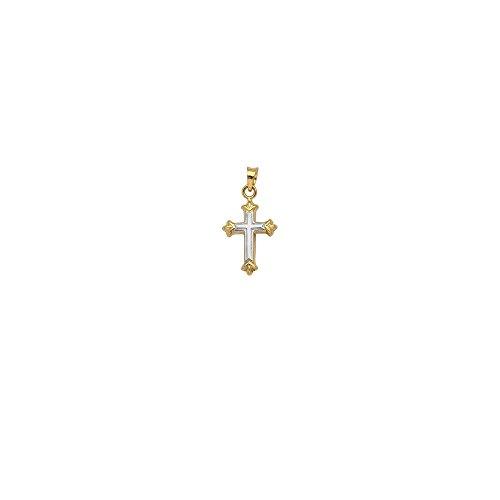 14k Yellow and White Gold Two-tone Overlay High Polish Fleury Cross Pendant
