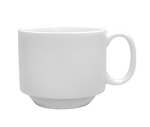 (Chef Expressions 9-ounce Stackable Cup, Restaurant Quality, Vitrified Bright White Porcelain, C-Handle (Case of 12))