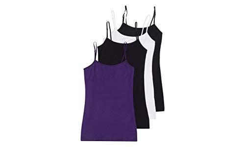 4 Pack Active Basic Women's Basic Tank Top (Black/Black/White/Purple) (Tank White Top Cami)