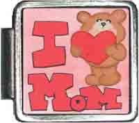 I Love Mom Teddy Bear Italian Charm Bracelet Jewelry Link A10406