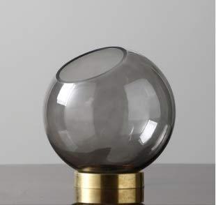 光の高級ラウンドガラス花瓶透明水文化花瓶現代のミニマリストのリビングルームクリエイティブ装飾ガラス花瓶 (Color : グレー) B07QZRKP2S グレー